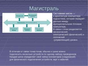 Магистраль Системная ши́на— вархитектуре компьютера подсистема, которая пе