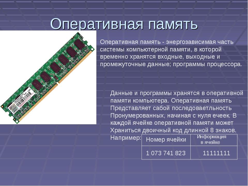 Оперативная память Оперативная память - энергозависимаячасть системыкомпьют...