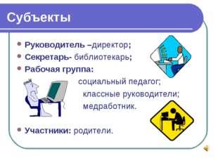 Субъекты Руководитель –директор; Секретарь- библиотекарь; Рабочая группа: соц