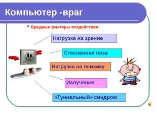 Компьютер -враг Вредные факторы воздействия: Нагрузка на зрение Стесненная по