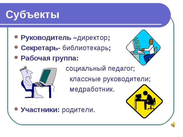 Субъекты Руководитель –директор; Секретарь- библиотекарь; Рабочая группа: соц...