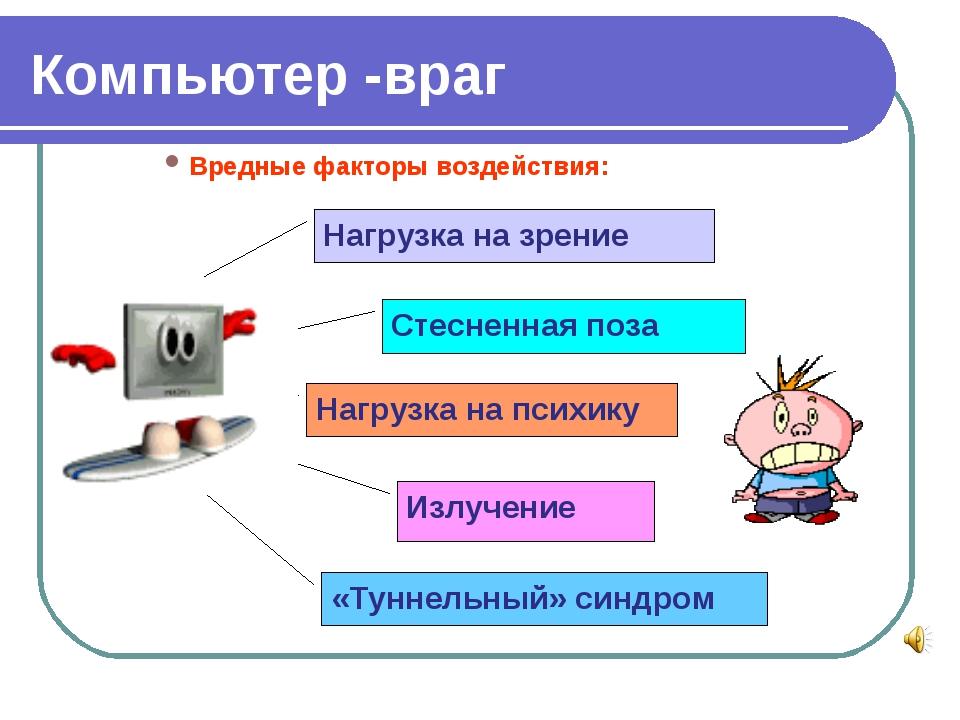 Компьютер -враг Вредные факторы воздействия: Нагрузка на зрение Стесненная по...
