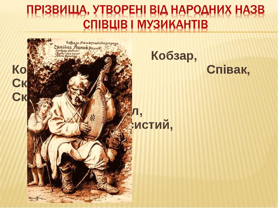 Кобзар, Кобзаренко, Співак, Скрипник, Скрипченко, Дудик,...