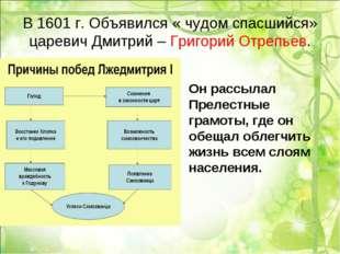 В 1601 г. Объявился « чудом спасшийся» царевич Дмитрий – Григорий Отрепьев. О