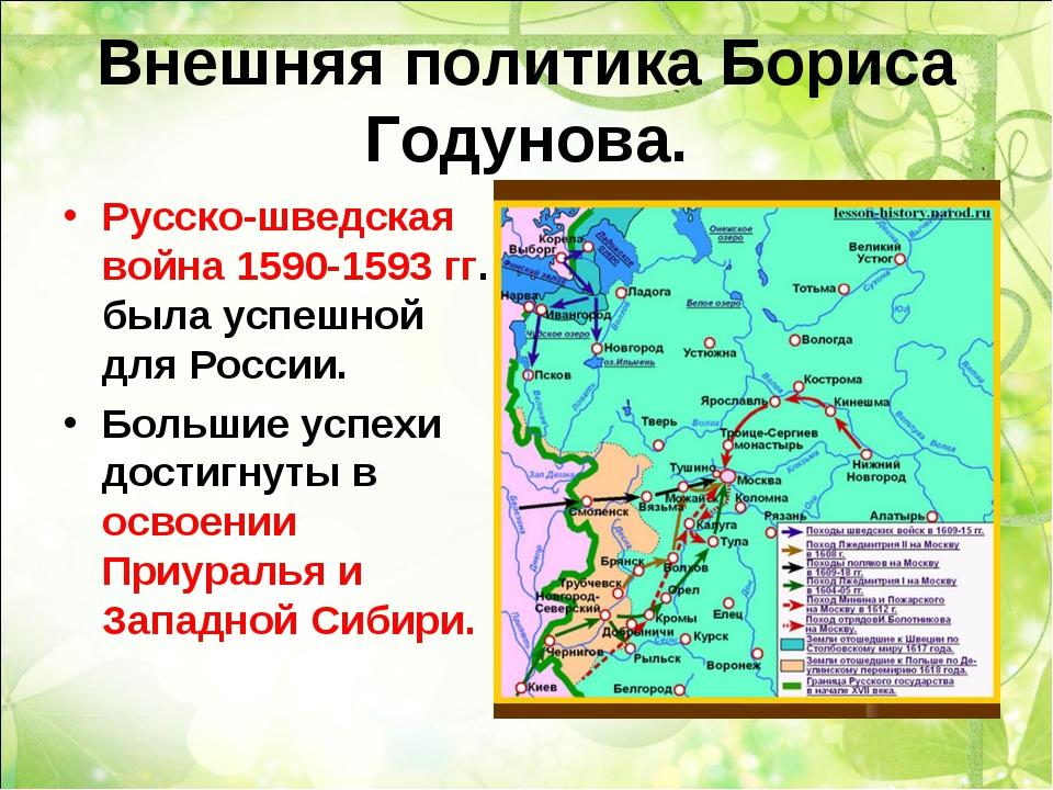 Внешняя политика Бориса Годунова. Русско-шведская война 1590-1593 гг. была ус...