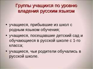 Группы учащихся по уровню владения русским языком учащиеся, прибывшие из школ