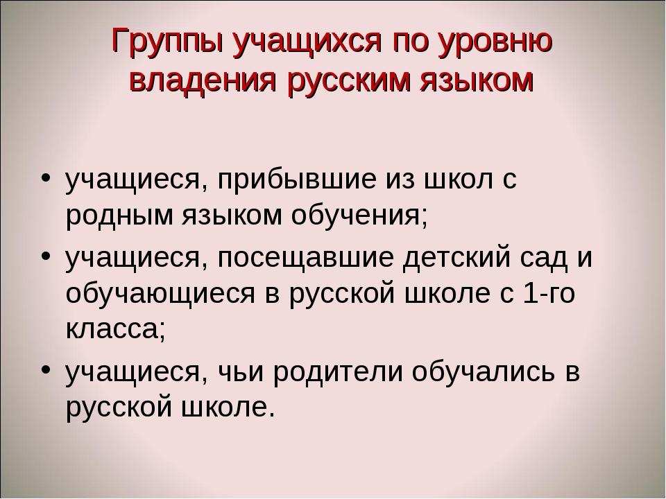 Группы учащихся по уровню владения русским языком учащиеся, прибывшие из школ...
