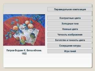Петров-Водкин К. Ветка яблони. 1922 Четкость изображения Контрастные цвета Пи