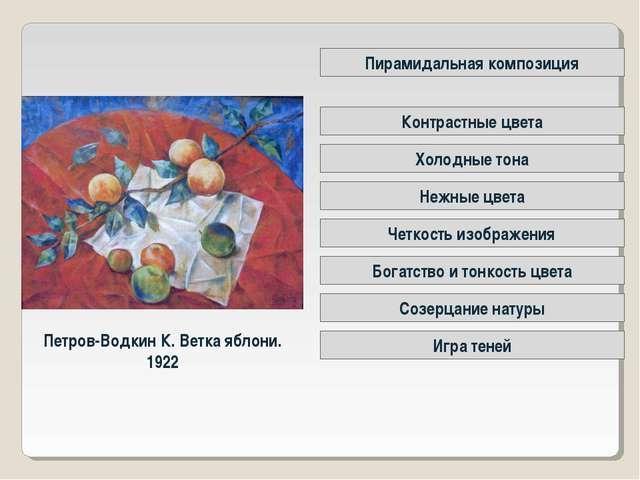 Петров-Водкин К. Ветка яблони. 1922 Четкость изображения Контрастные цвета Пи...