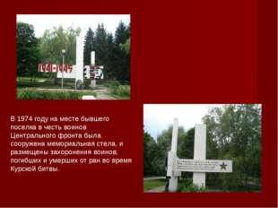 В 1974 году на месте бывшего поселка в честь воинов Центрального фронта была