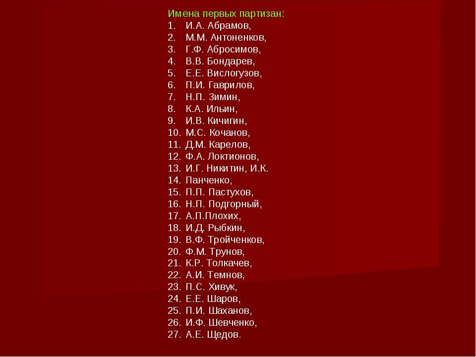 Имена первых партизан: И.А. Абрамов, М.М. Антоненков, Г.Ф. Абросимов, В.В. Бо...