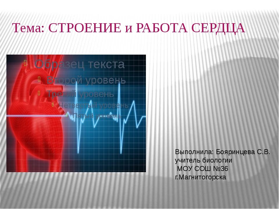 Тема: СТРОЕНИЕ и РАБОТА СЕРДЦА