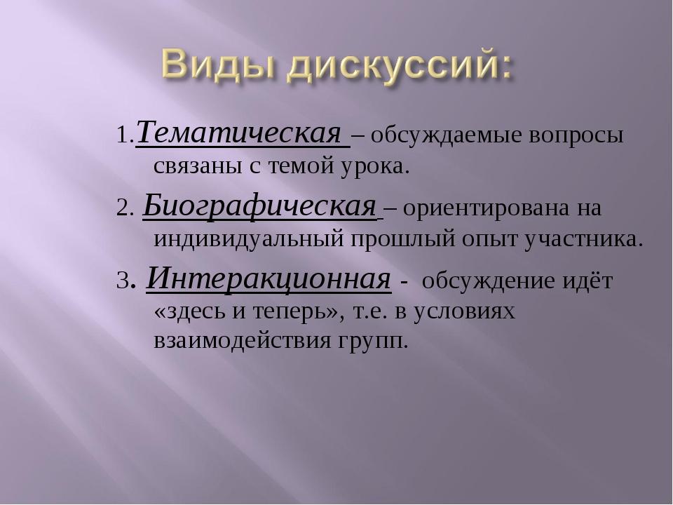 1.Тематическая – обсуждаемые вопросы связаны с темой урока. 2. Биографическая...