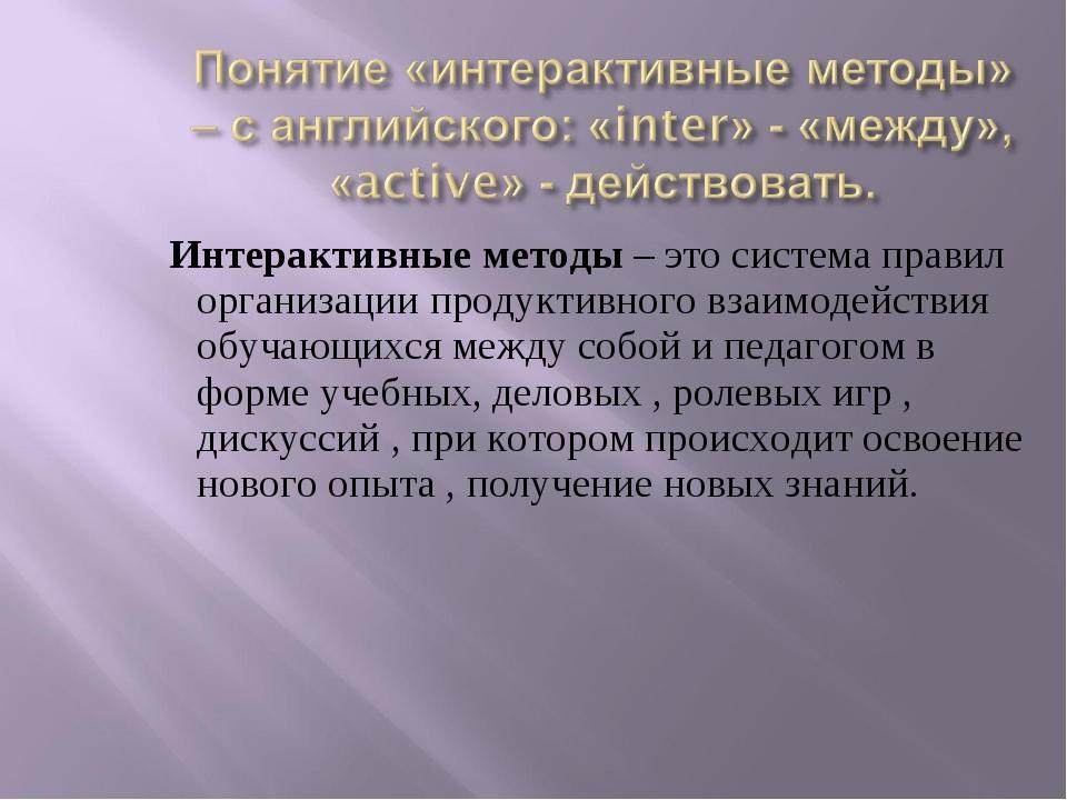 Интерактивные методы – это система правил организации продуктивного взаимоде...
