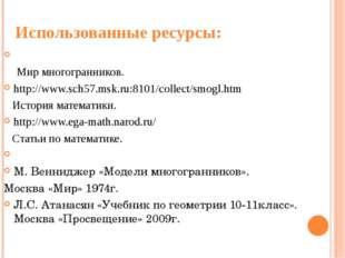 Использованные ресурсы: http://www.nips.riss-telecom.ru/poly/ Мир многогранни