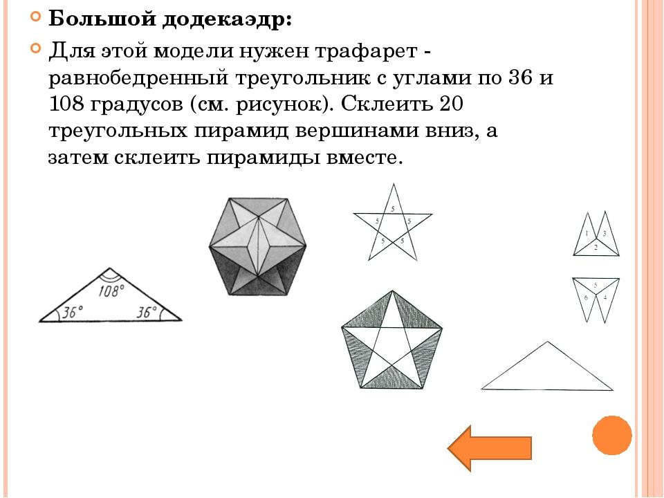 Большой додекаэдр: Для этой модели нужен трафарет - равнобедренный треугольни...