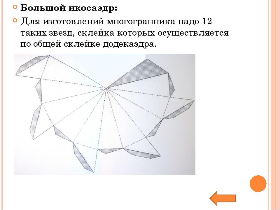 Большой икосаэдр: Для изготовлений многогранника надо 12 таких звезд, склейка...