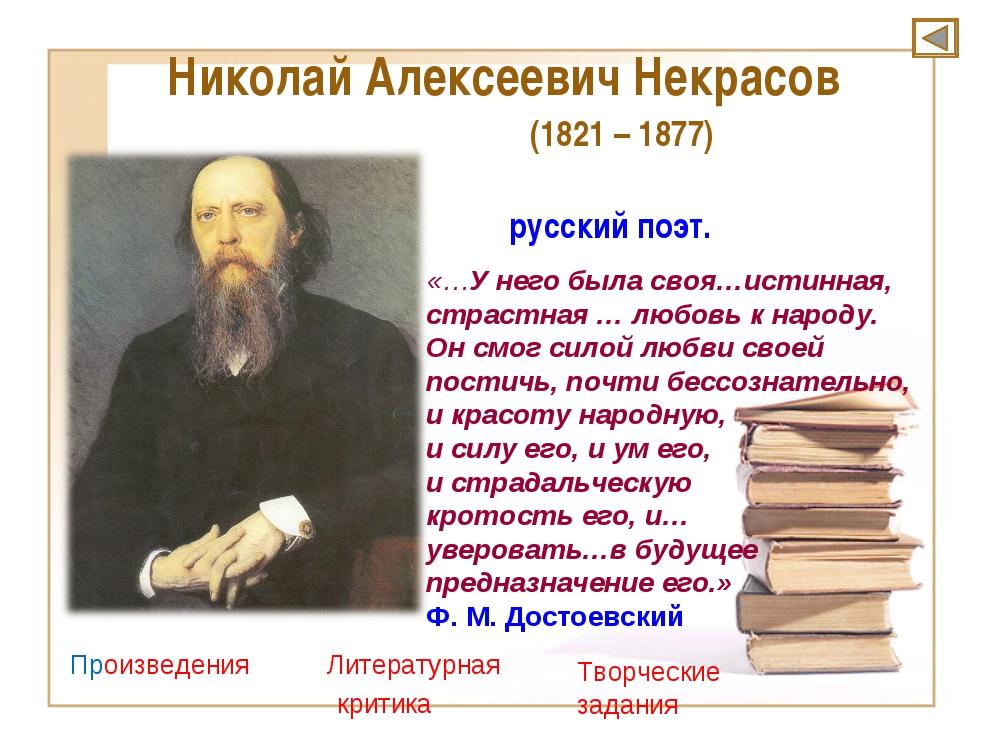 Николай Алексеевич Некрасов (1821 – 1877) русский поэт. Произведения Литерат...