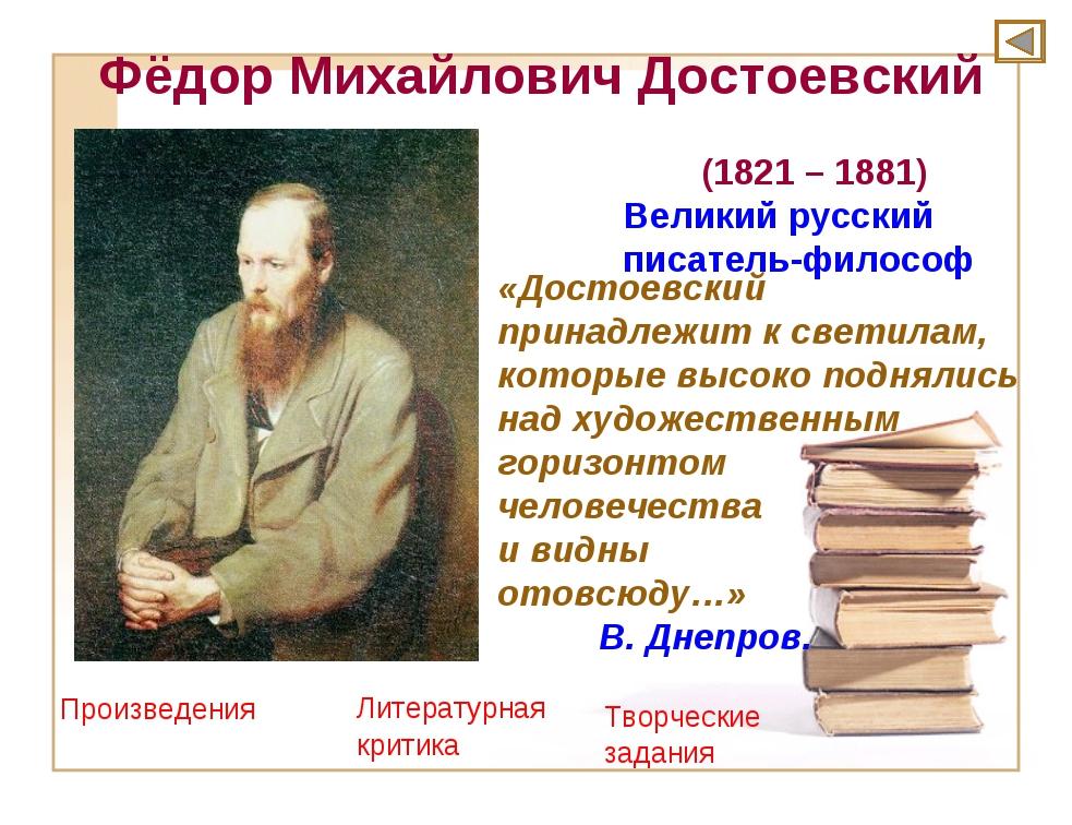 Фёдор Михайлович Достоевский (1821 – 1881) Великий русский писатель-философ «...