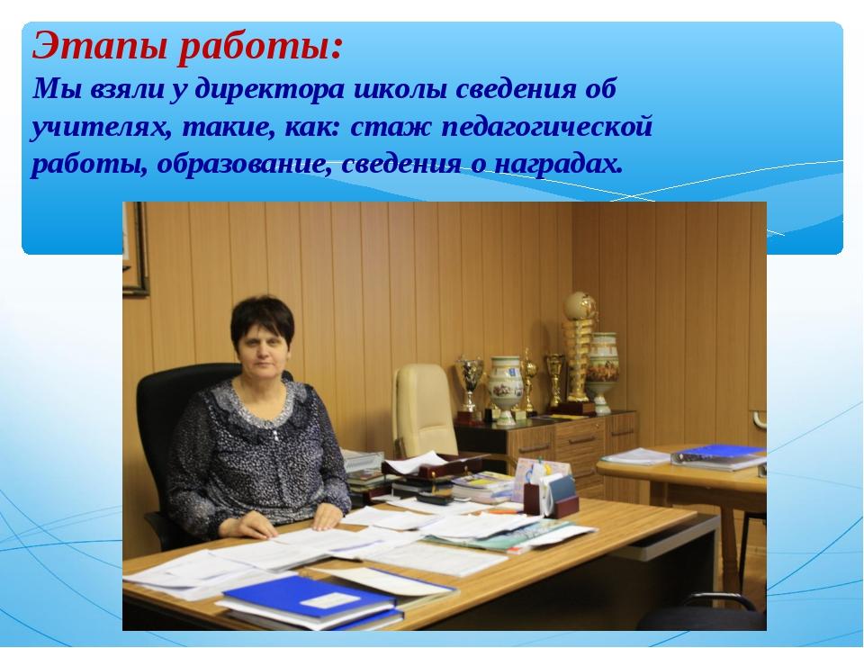 Этапы работы: Мы взяли у директора школы сведения об учителях, такие, как: ст...