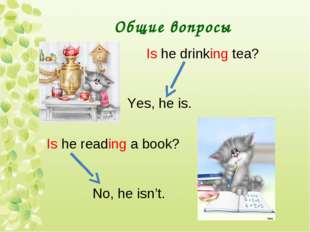 Общие вопросы Is he drinking tea? Yes, he is. Is he reading a book? No, he is
