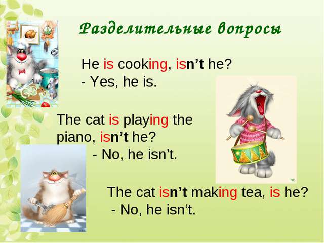 Разделительные вопросы He is cooking, isn't he? - Yes, he is. The cat is play...