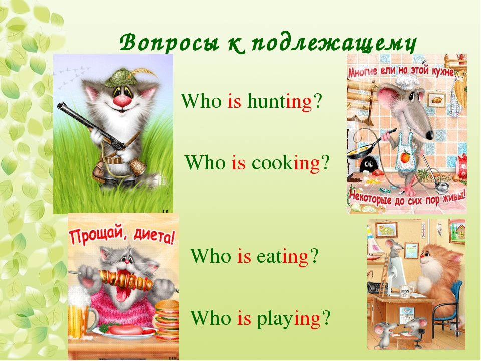 Вопросы к подлежащему Who is hunting? Who is cooking? Who is eating? Who is p...