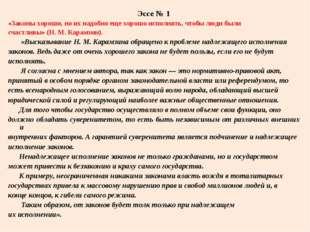 Эссе № 1 «Законы хороши, но их надобно еще хорошо исполнять, чтобы люди были