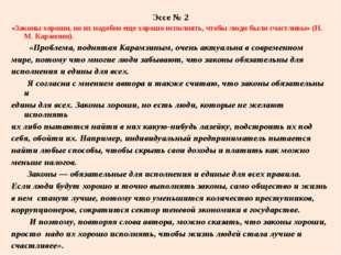 Эссе № 2 «Законы хороши, но их надобно еще хорошо исполнять, чтобы люди были