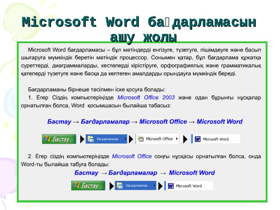 Microsoft Word бағдарламасын ашу жолы