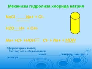 Механизм гидролиза хлорида натрия NaСl       Na+ + Cl-  H2O  H+  + OH-