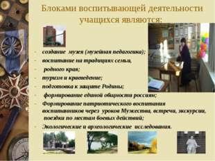 Блоками воспитывающей деятельности учащихся являются: создание музея (музейн