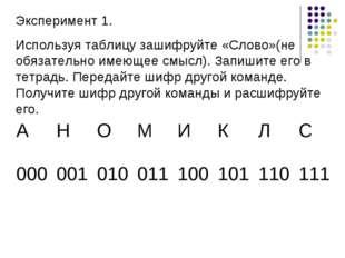 Эксперимент 1. Используя таблицу зашифруйте «Слово»(не обязательно имеющее см