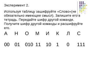 Эксперимент 2. Используя таблицу зашифруйте «Слово»(не обязательно имеющее см