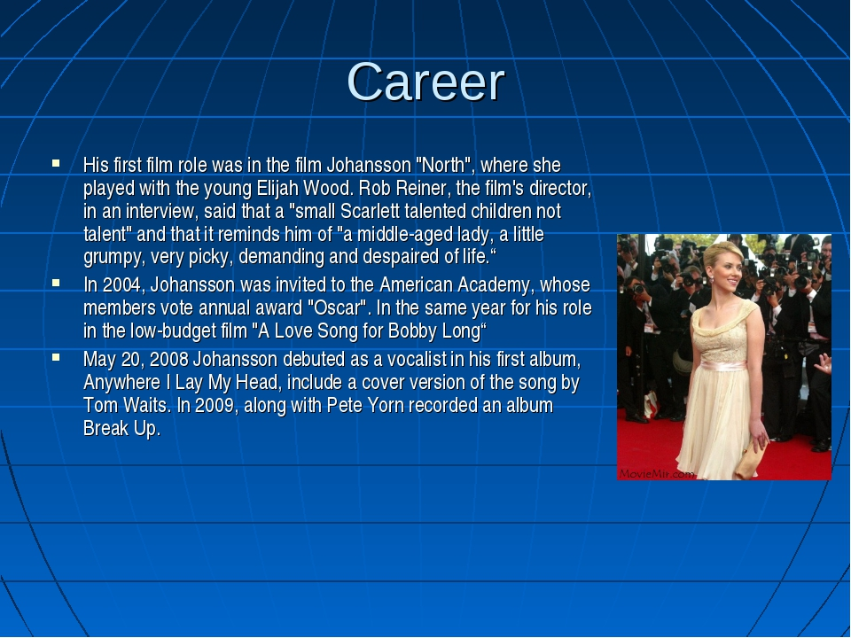 """Career His first film role was in the film Johansson """"North"""", where she playe..."""
