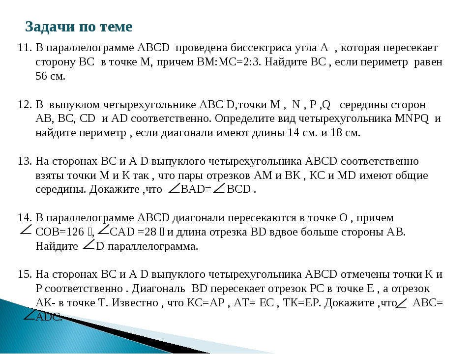 Задачи по теме В параллелограмме ABCD проведена биссектриса угла A , которая...