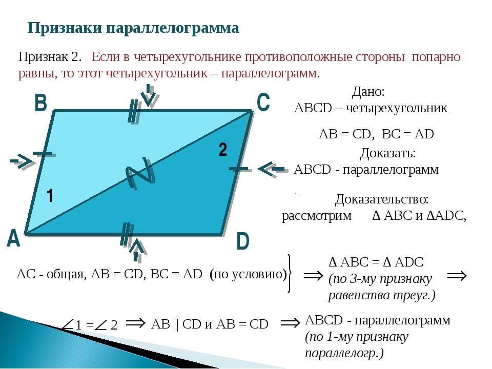 Признаки параллелограмма D С В А 1 2 Признак 2. Если в четырехугольнике проти...