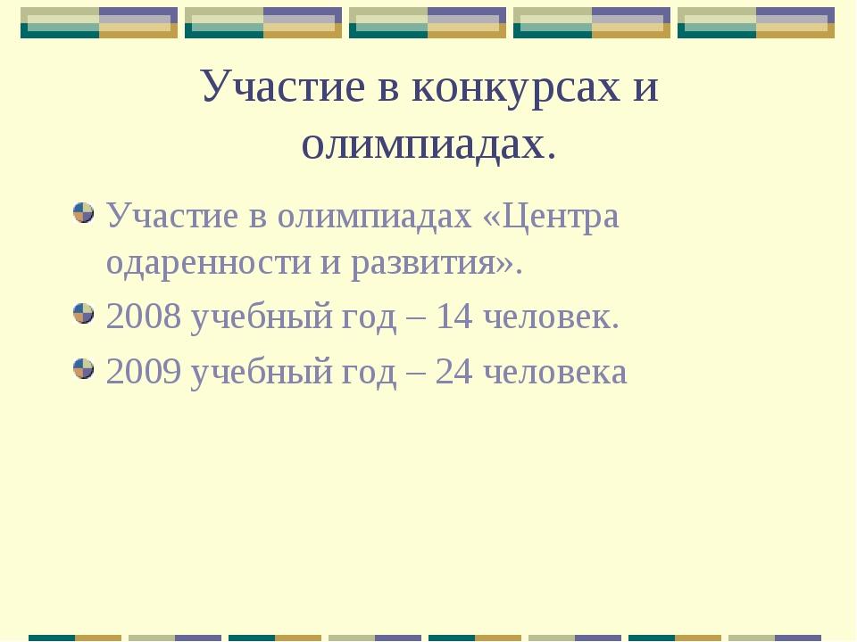 Участие в конкурсах и олимпиадах. Участие в олимпиадах «Центра одаренности и...