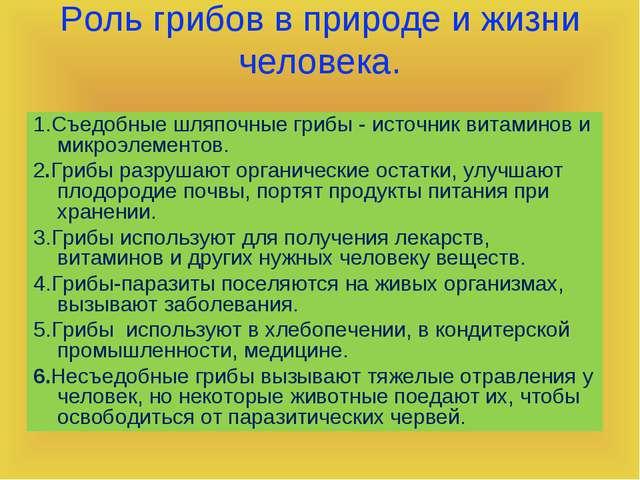Роль грибов в природе и жизни человека. 1.Съедобные шляпочные грибы - источни...