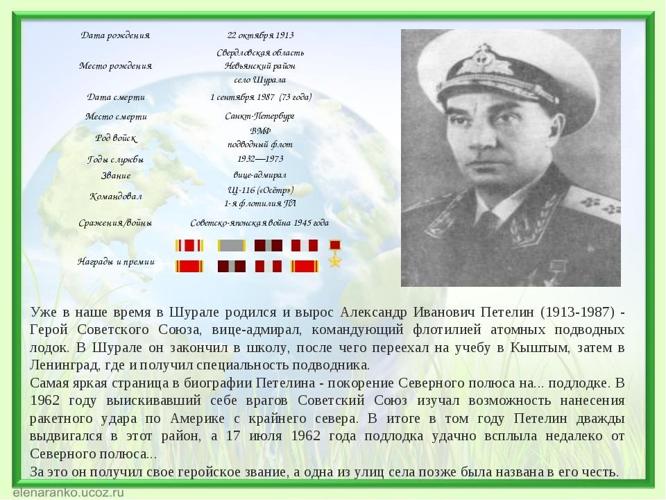 Уже в наше время в Шурале родился и вырос Александр Иванович Петелин (1913-19...