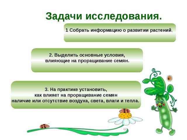 Задачи исследования. 1 Собрать информацию о развитии растений. 2. Выделить ос...