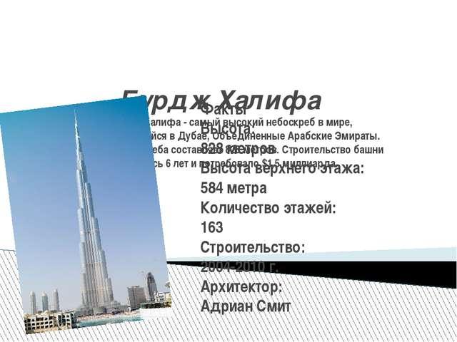 Бурдж Халифа Бурдж Халифа - самый высокий небоскреб в мире, располагающийся в...