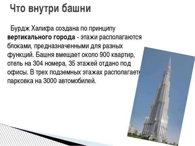 Бурдж Халифа создана по принципу вертикального города - этажи располагаются...