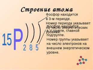 Строение атома Фосфор находится в 3-м периоде. Номер периода указывает на чис