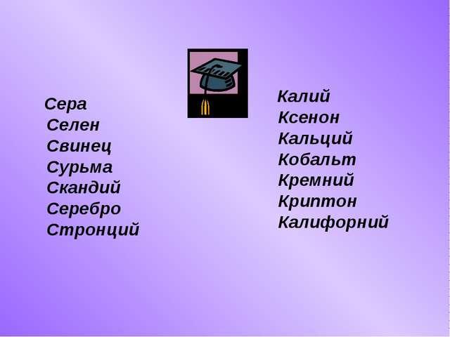 Калий Ксенон Кальций Кобальт Кремний Криптон Калифорний Сера Селен Свинец Су...