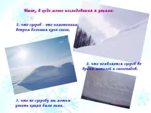 1. что сугроб - это наметенная ветром большая куча снега, 3. что по сугробу м