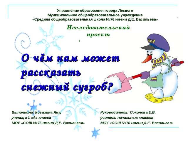 О чём нам может рассказать снежный сугроб? Выполнила: Ковязина Яна, ученица 1...