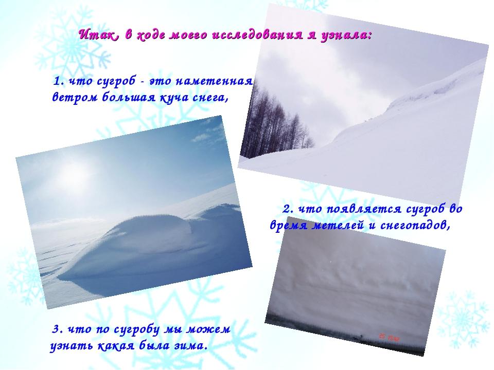 1. что сугроб - это наметенная ветром большая куча снега, 3. что по сугробу м...