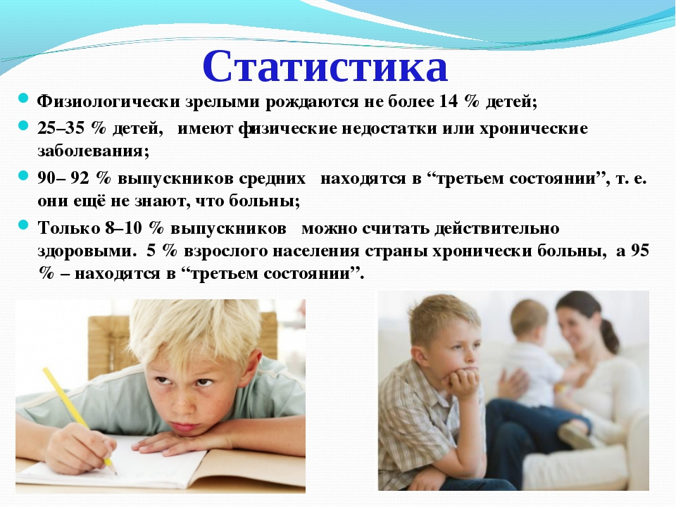 Статистика Физиологически зрелыми рождаются не более 14 % детей; 25–35 % дете...