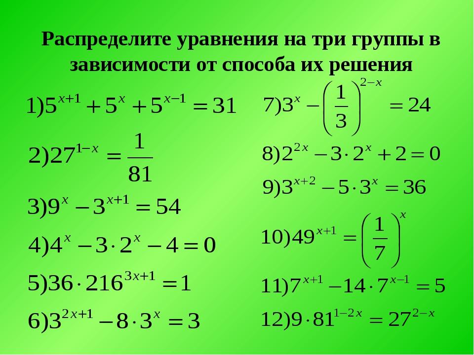 Распределите уравнения на три группы в зависимости от способа их решения